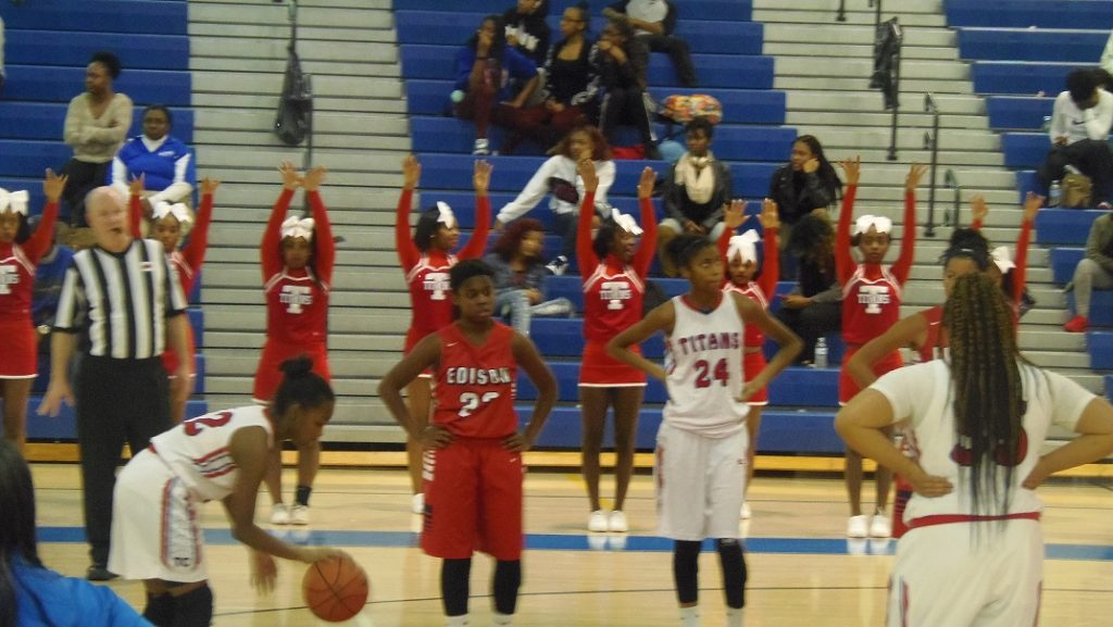 Sophomore Trinity Palacio prepares to sink a free throw.