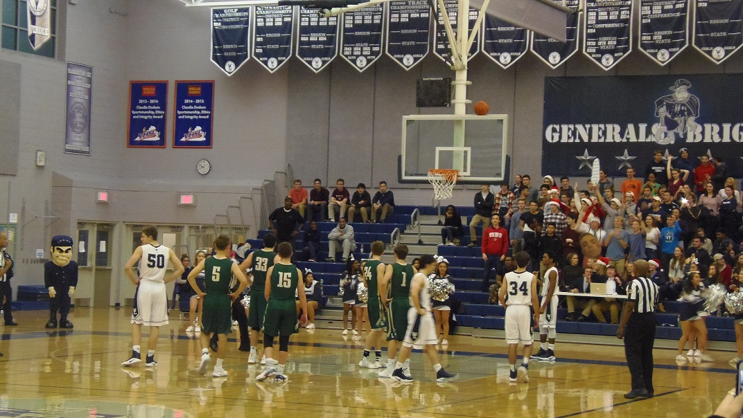 The ball is awarded to Langley after a shot goes awry for the Generals' Will Wallace.