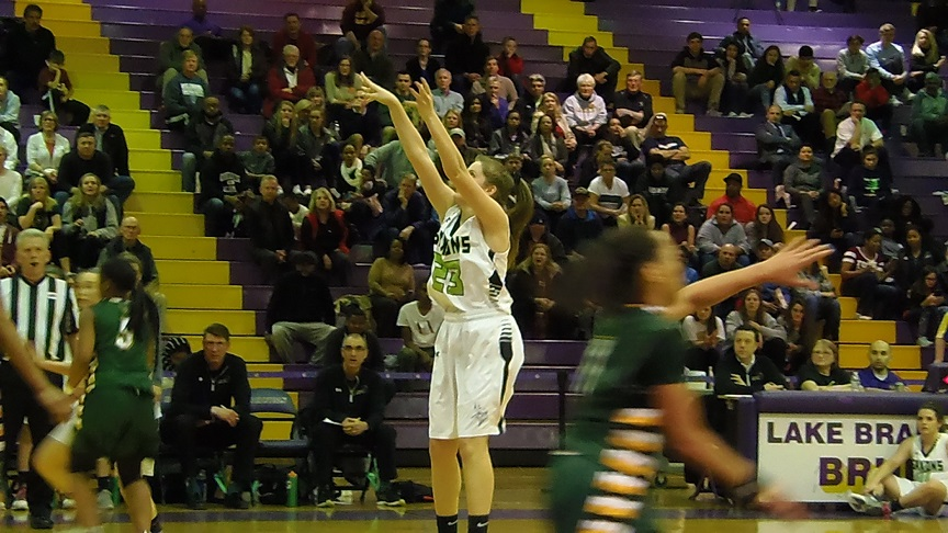 Elizabeth Bucy drains a jumper in the second half. Bucy finished with a double-double.