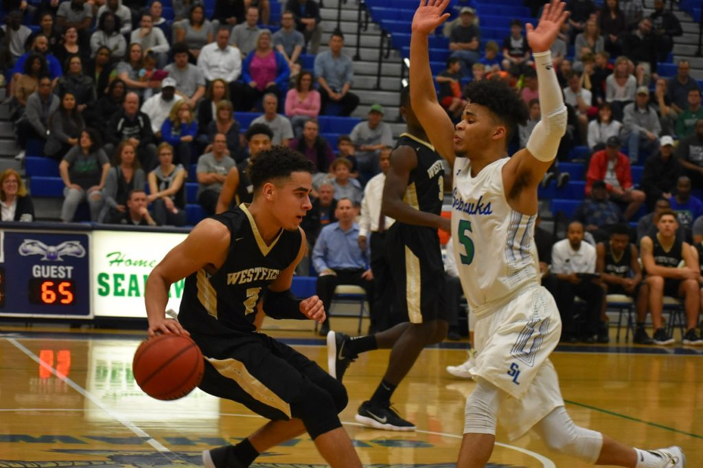 South Lakes' Cam Savage (17 points) puts defensive pressure on Westfield star guard Jordan Hairston.