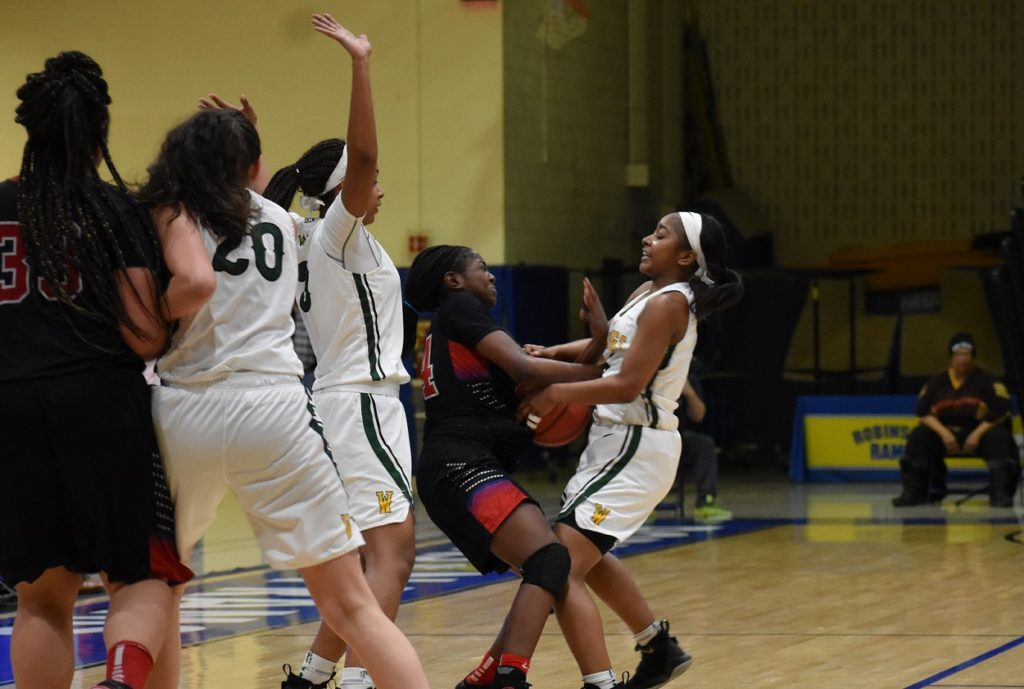 The Woodbridge trap clamps down on T.C.'s Sasha Bates.