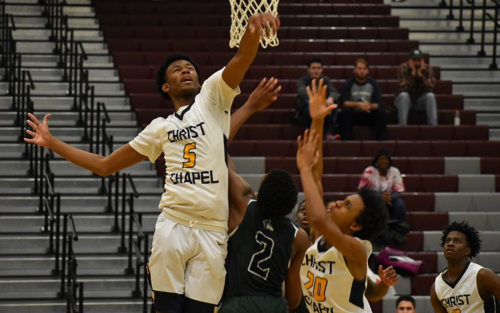 Long forward Trey Barber led Christ Chapel wth a double-double, and lots of blocks.