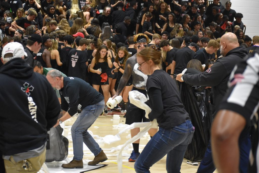 It's tradition for toilet paper to be thrown onto the floor after the first basket of the year at SSSA. The clean-up was impressively quick.