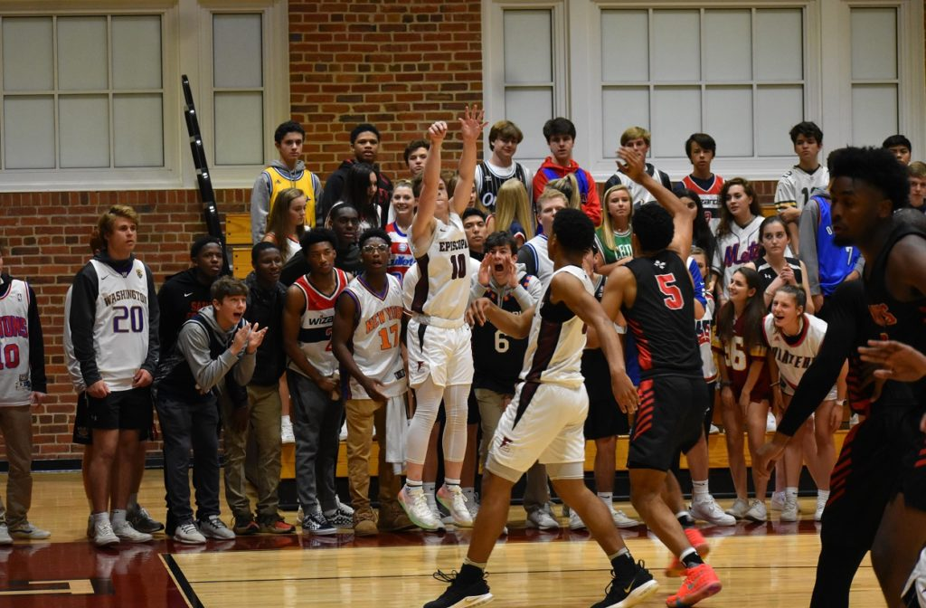 Episcopal's Jack Fitzpatrick drains a three in front of the visiting SSSA fans.
