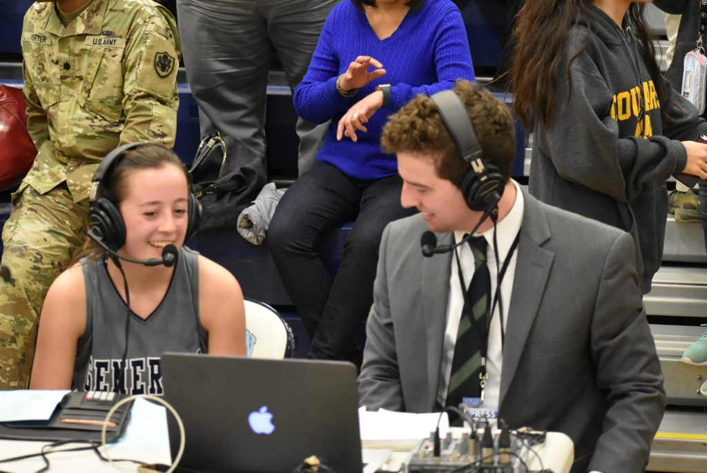 Player of the game Jordan Mosley talks with Ben Simon.