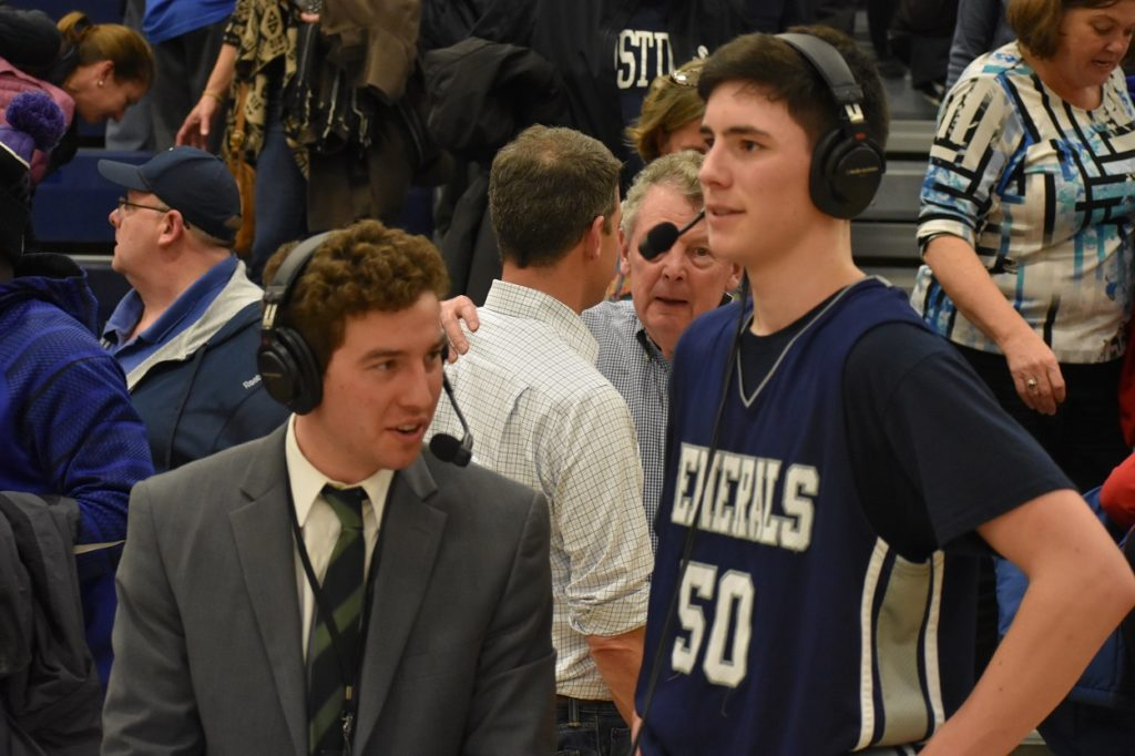 Ben Simon interviews the Generals' William Reynolds after the game.