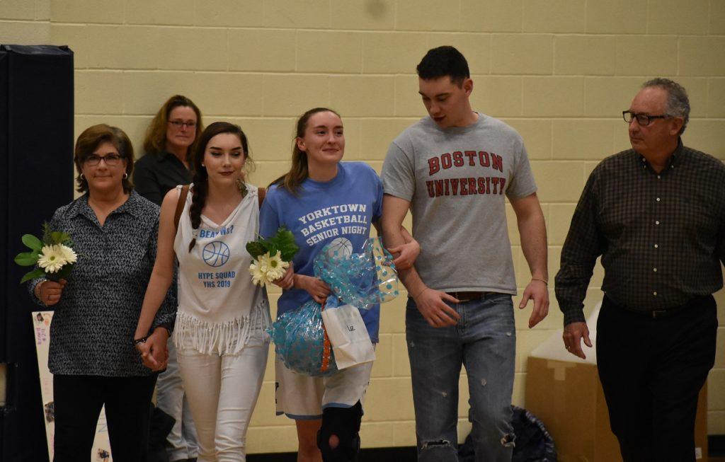 Yorktown's Liz Shean is honored on senior night.
