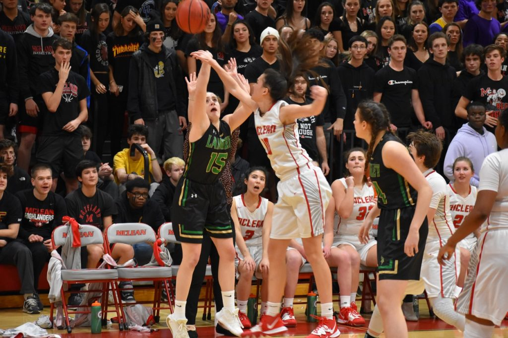 McLean sophomore Mia Fitzgerald swatted four Langley shots in the first quarter alone.