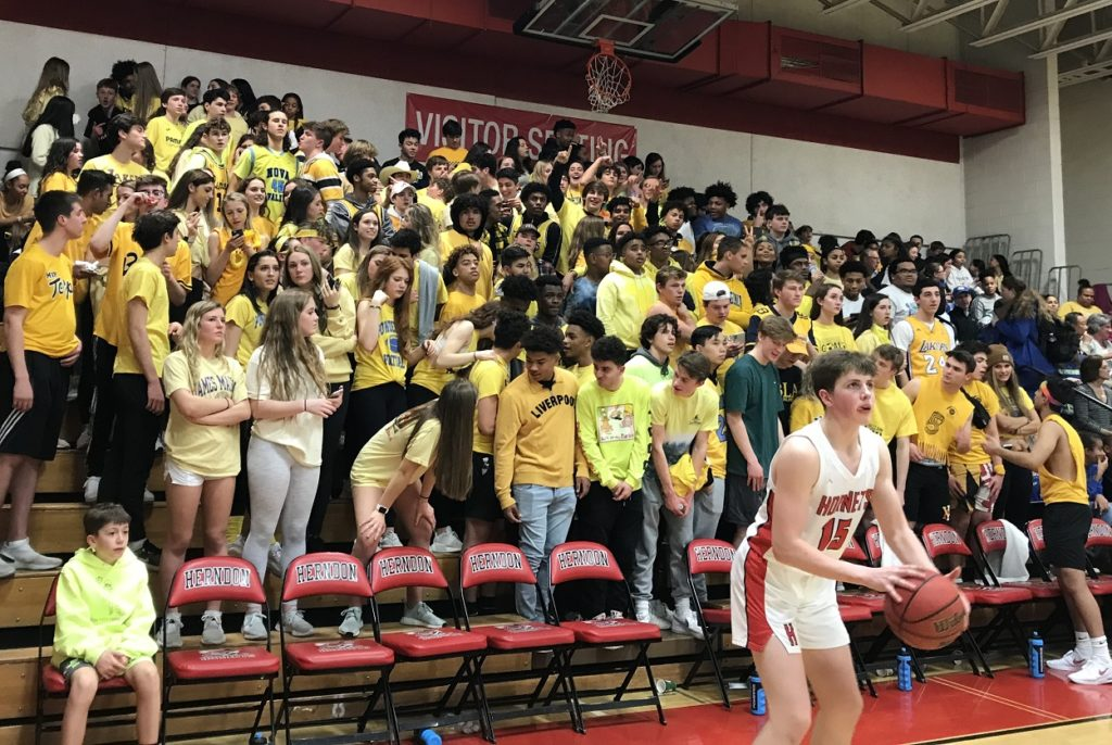 The visiting fans from South Lakes had a good showing at Herndon, wearing yellow to honor Kobe.