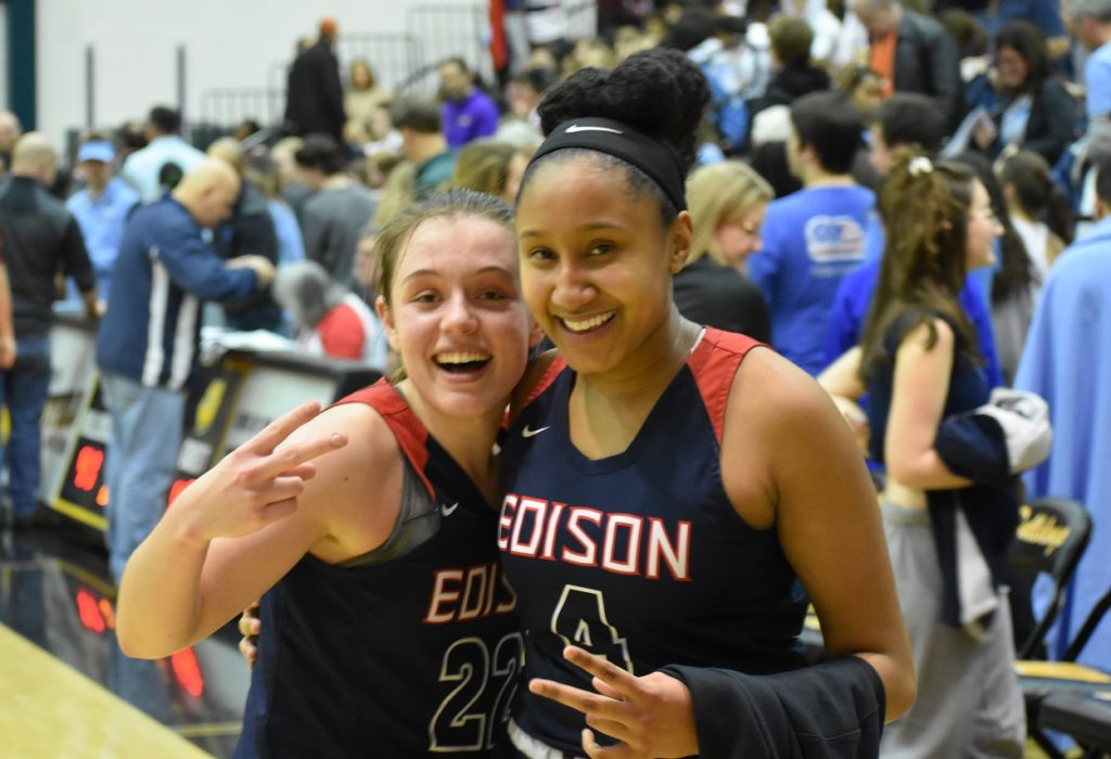 Jewell and the birthday girl, Bri Johns, pose for a picture after the victory.