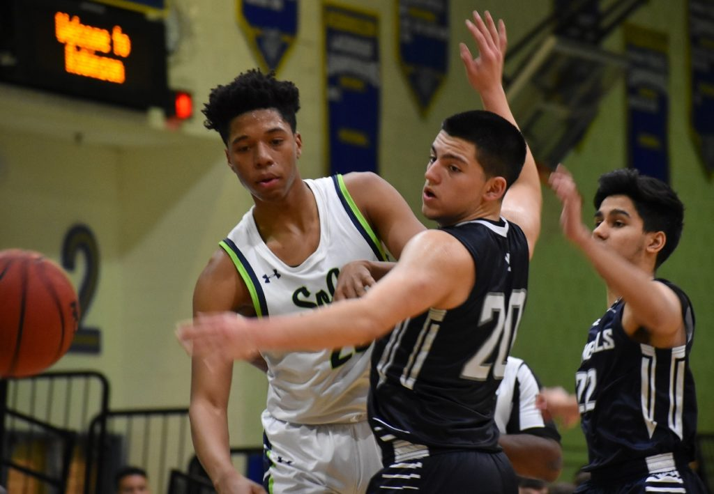 South County's Trenton Picott, here defended by Anthony Reyes, led the way for the Stallions with 19 points.