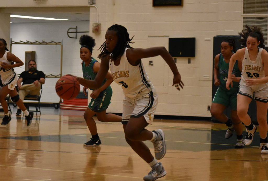 Woodbridge's Amani Melendez is a handful to slow down in the open court.