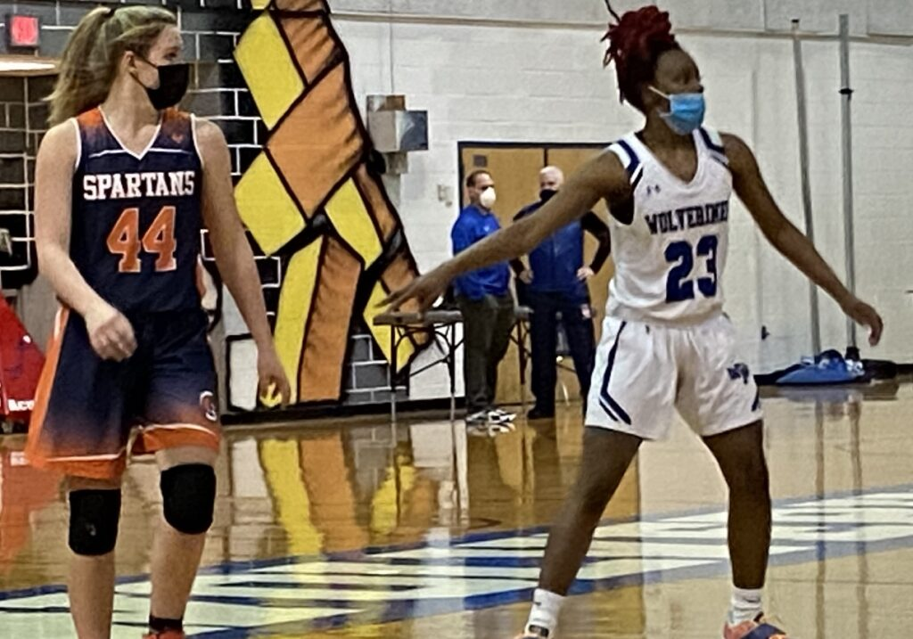 Senior Brii Redfearn (right) was huge in the victory, delivering 16 points and 11 rebounds.